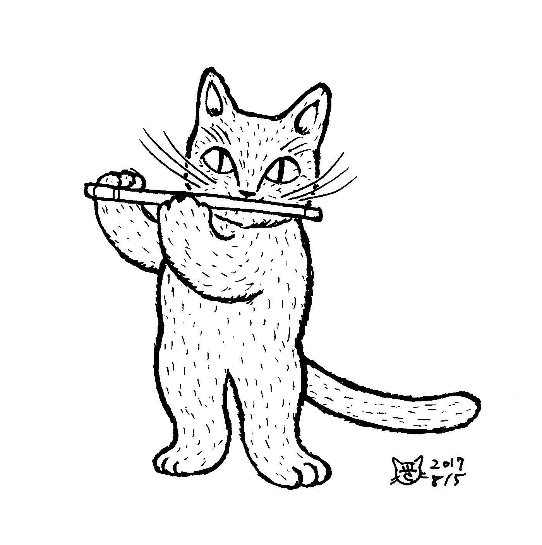笛を吹く猫