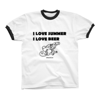 I LOVE SUMMER, I LOVE BEER リンガーTシャツ